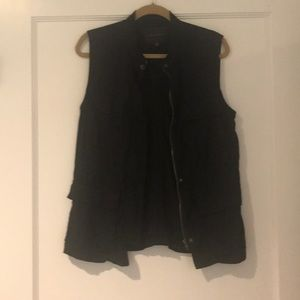 Black cotton zip vest